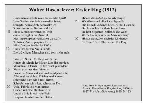 Walter Hasenclever: Erster Flug
