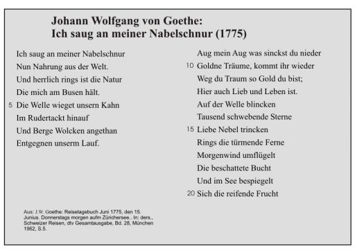 J.W. Goethe: Ich saug an meiner Nabelschnur