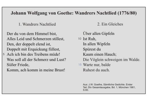 J.W. Goethe: Wandrers Nachtlied (mit: Ein Gleiches)