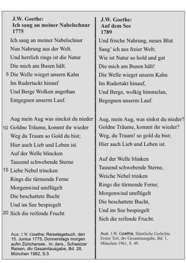 J.W. Goethe: Auf dem See (Vergleich der Fassungen)