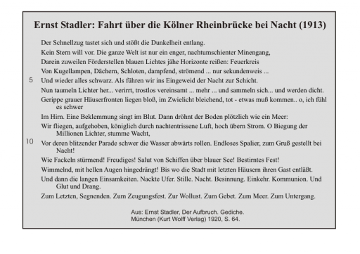Ernst Stadler: Fahrt über die Kölner Rheinbrücke bei Nacht