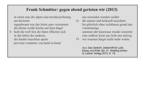 Frank Schmitter: gegen abend gerieten wir