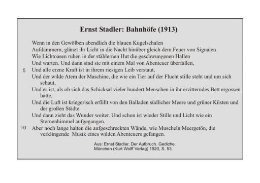 Ernst Stadler: Bahnhöfe