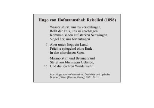 Hugo von Hofmannsthal: Reiselied