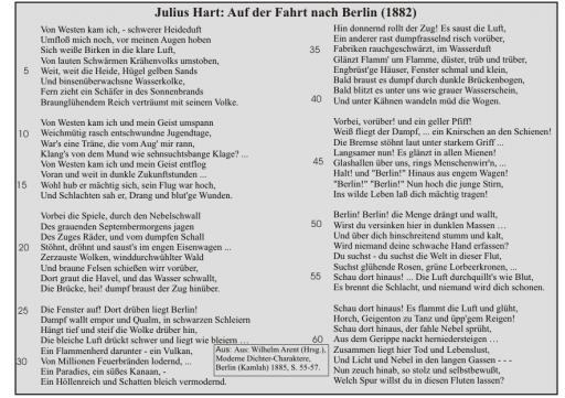 Julius Hart: Auf der Fahrt nach Berlin