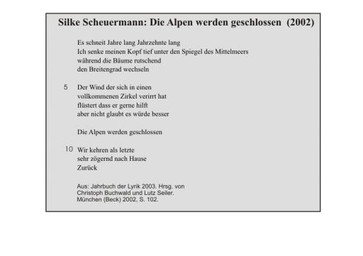 Silke Scheuermann: Die Alpen werden geschlossen
