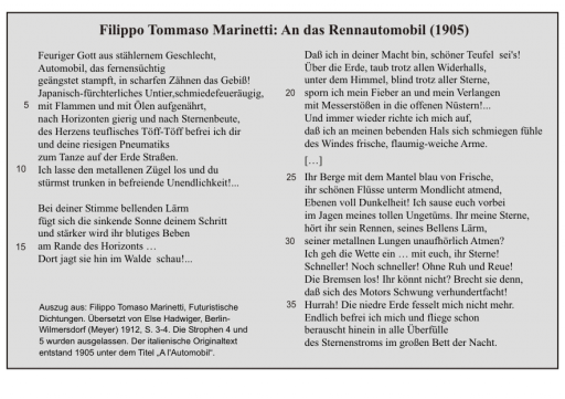 Filippo Tommaso Marinetti: An das Rennautomobil