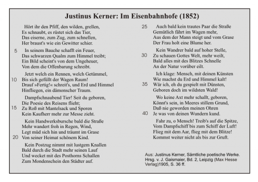 Justinus Kerner: Im Eisenbahnhofe